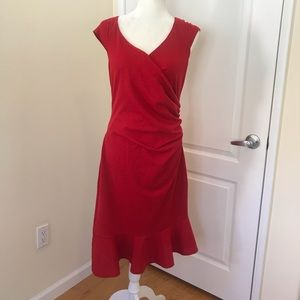 ASOS Red Ruched Trumpet Dress Frill Size 12 Sexy